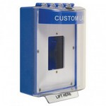 Safety Technology Intl (S.T.I.) STI-13520CB | Universal Stopper Dome Cover Enclosed Back Box, Open Mounting Plate and Hood with Horn - Custom Label - Blue - Non-Returnable