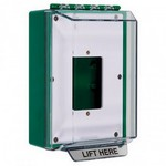Safety Technology Intl (S.T.I.) STI-14500NG | Universal Stopper Low Profile without Horn Housing Enclosed Back Box Open Mounting Plate - No Label Included - Green
