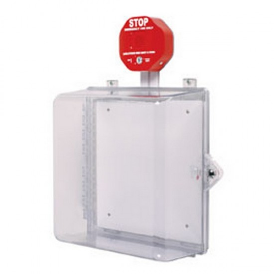 Safety Technology Intl (S.T.I.) STI-7533 | Polycarbonate Cabinet with Siren Alarm Thumb Lock - Clear
