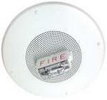 Wheelock S8-24MCCH-FW | White Ceiling Mount Speaker Strobe 115/177CD Fire Lettering