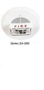 Wheelock SA-S90-24MCC-FW   White Ceiling Mount Self-Amplified Speaker Strobe 15/30/75/95 Fire Lettering
