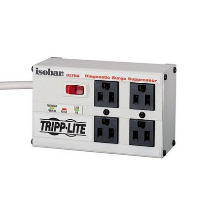 Tripp-Lite ISOBAR4ULTRA 4 Outlets, 6ft Cord, 3330 joules, All-Metal Housing with LED's - Isobar Surge Suppressor