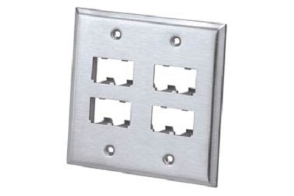 Panduit CFP8S-2GY Faceplate, 8 Port, Double Gang, Stainless Steel